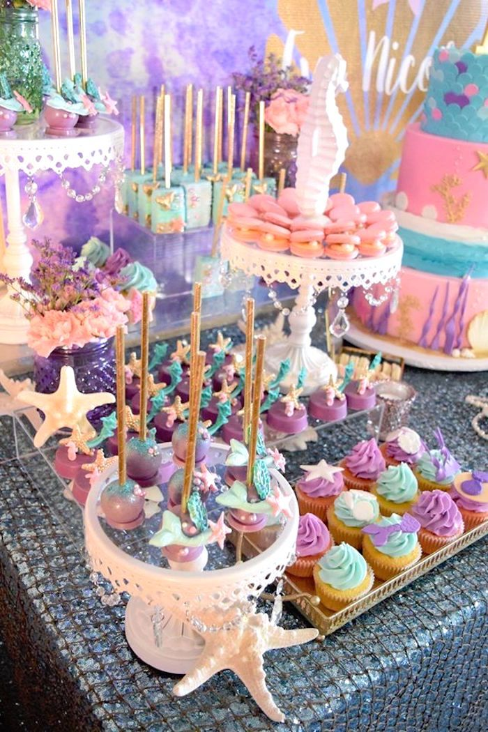 "Sweets from a Pastel ""Let's Be Mermaids"" Birthday Party via Kara's Party Ideas 