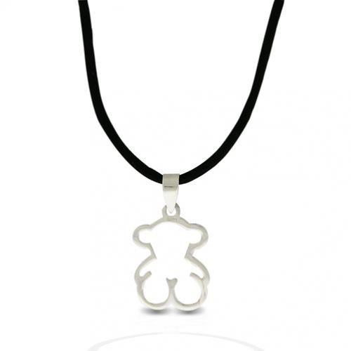 Sterling Silver Bear Pendant and Black Cord Necklace