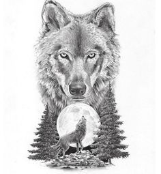 ** only the wolf/moon and maybe a tree tatuajes | Spanish tatuajes |tatuajes para mujeres | tatuajes para hombres | diseños de tatuajes http://amzn.to/28PQlav