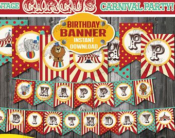 Items similar to Vintage Carnival 1st Birthday Cake Topper on Etsy