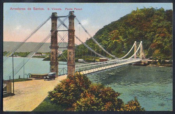 Santos - São Vicente, Ponte Pensil - Cartão Postal antigo original, série em cores nº 701, editado por M. Pontes.
