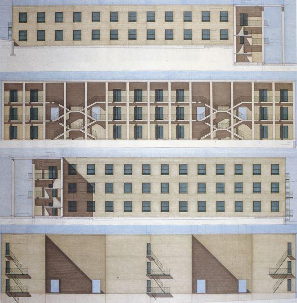 58. Chieti. Casa dello studente (1976). Etudes en élévation des corps de dortoirs