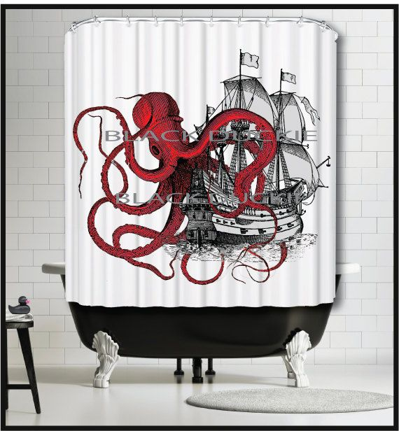 Red Octopus playing with Galleon Ship Shower Curtain - Kraken tentacles tall ship boat red shower curtains