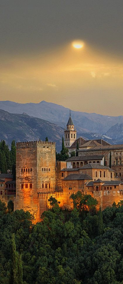 "The Alhambra, Granada, Spain - means ""red or crimson castle"","