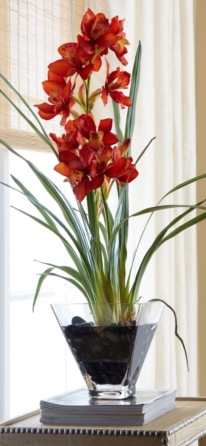 John-Richard Collection: Red Orchid in Glass Planter Faux-Floral #home #decor