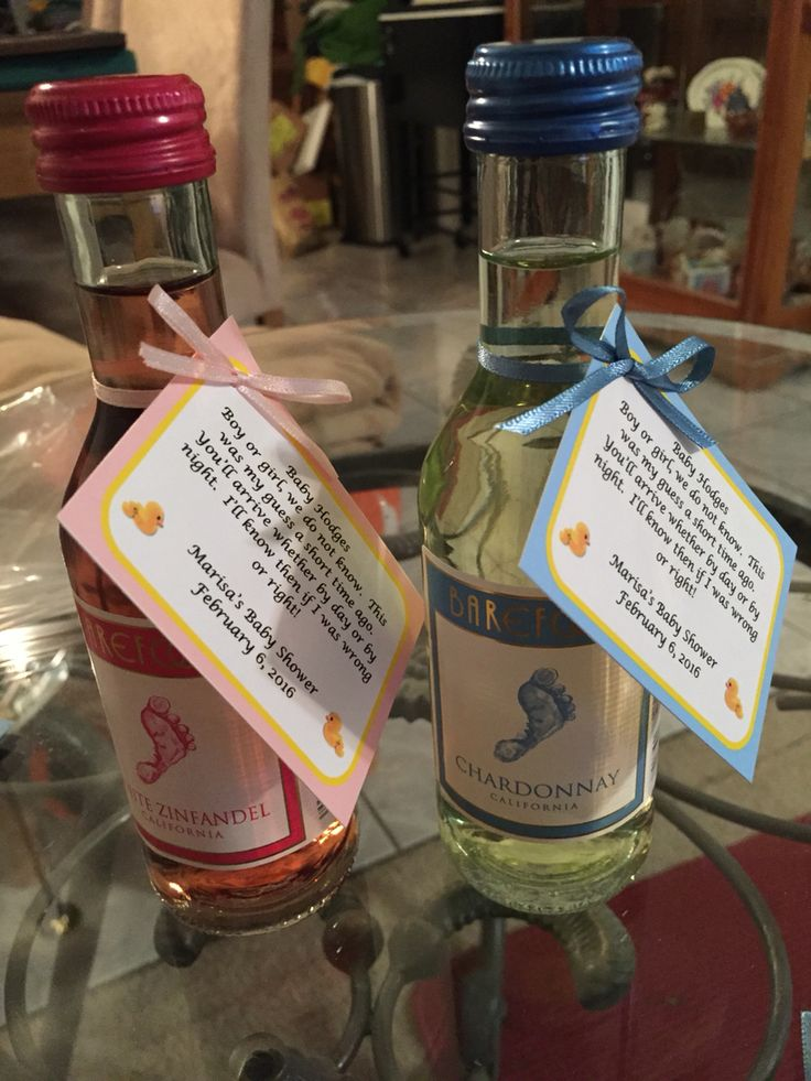 Barefoot wine, gender neutral, baby shower favor.
