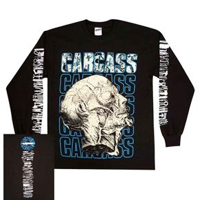 Official Carcass long sleeve shirt featuring Necro Head design on front, logo stacked on top of medical tools pattern on back and medical tools running down both the sleeves.
