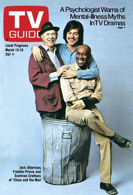TV Guide March 13, 1976 - Jack Albertson, Freddie Prinze and Scatman Crothers of Chico and the Man.