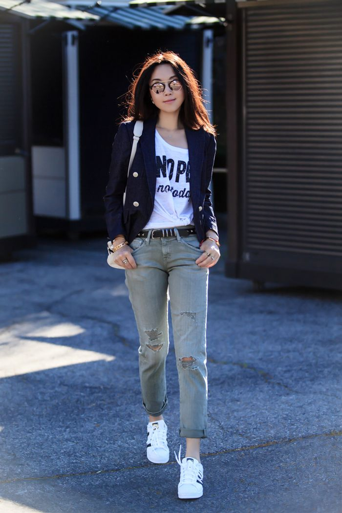 'Not Today' Graphic Tank, Olivia Palermo + Chelsea28 Denim Blazer, AG '