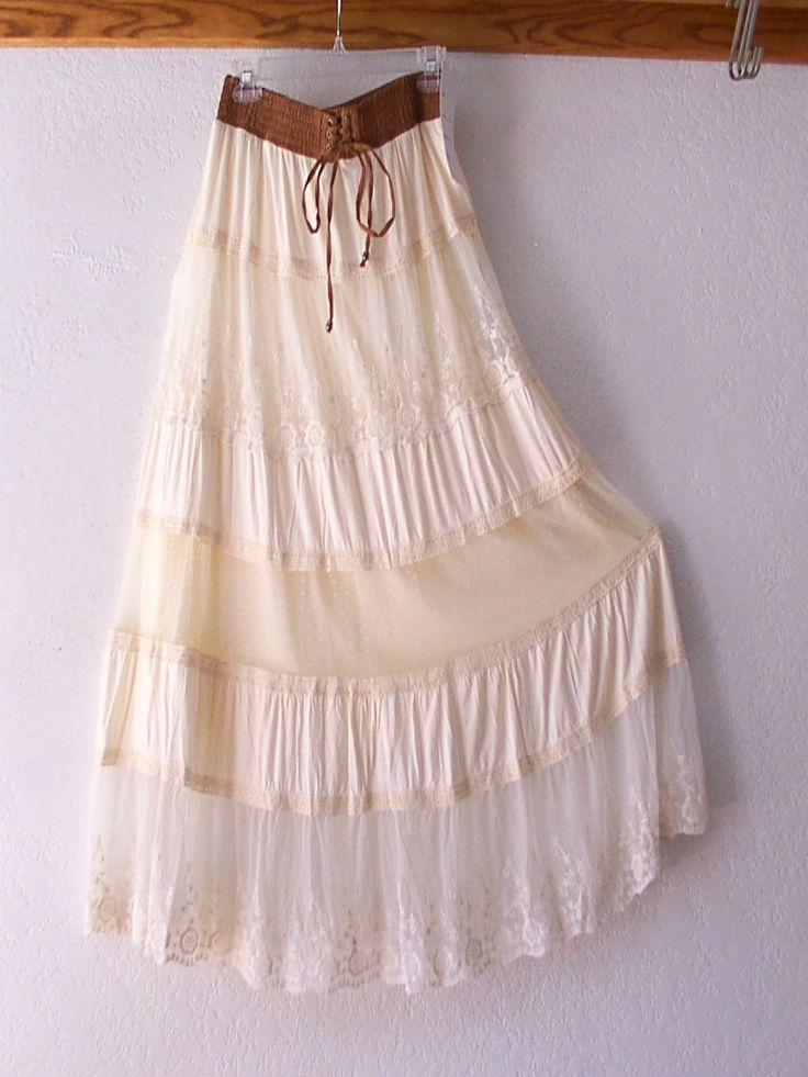 lace up peasant dress long cream | New Lapis Long Cream Lace Peasant Boho Prairie Maxi Dress Skirt 12 14 ...