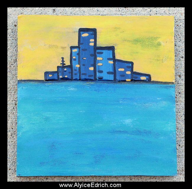 Alyice Edrich - circa 2015 - Wood Block Art - wood block, glass beads, glaze #woodcanvas #reclaimedwood #cityscape