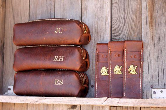 Custom Groomsman Gift Personalized Leather HANDMADE Shaving Kit Bag w/ Straigt Razor Sleeve Groomsman Groomsmen Gifts Groom OOAK Dopp Kit