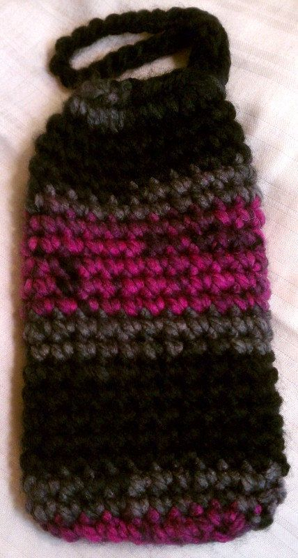 Crocheted Purple Black and Grey Drawstring by MrzJaquesCrochetedIt, $12.87