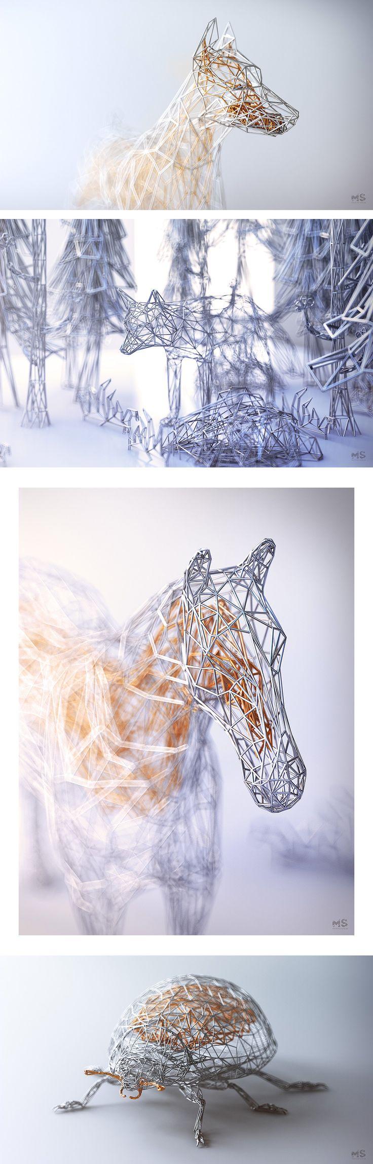 Elegant Wireframe Animal Renderings by 3D Artist Mat Szulik