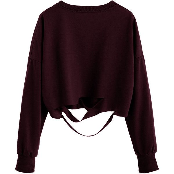 Burgundy Drop Shoulder Cut Out Crop T-shirt (£6.56) ❤ liked on Polyvore featuring tops, sweaters, shirts, crop tops, burgundy, long-sleeve shirt, burgundy shirt, burgundy crop top, cut-out tops and burgundy top