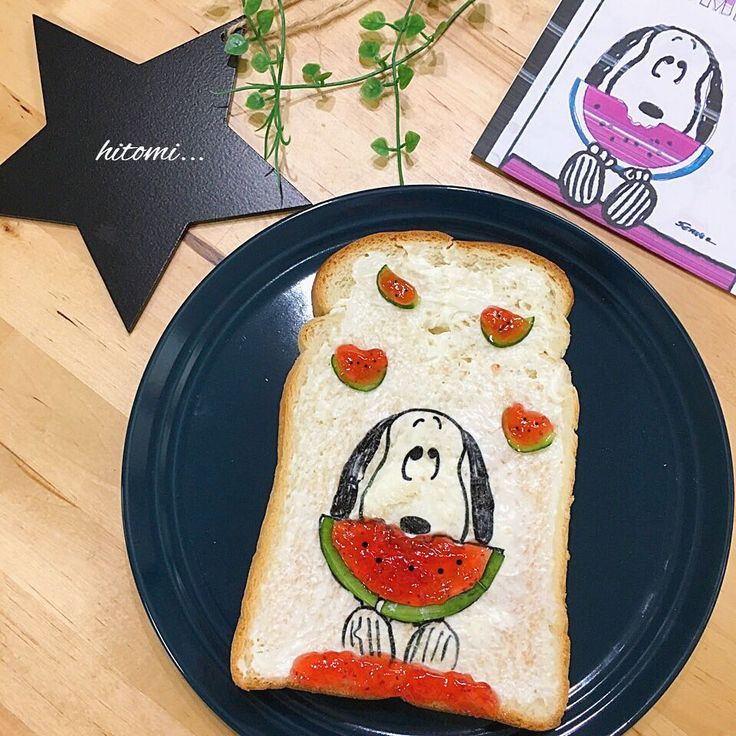 Snoopy loves watermelon toast art by hitomi⋆*✩ (@renritsumama)