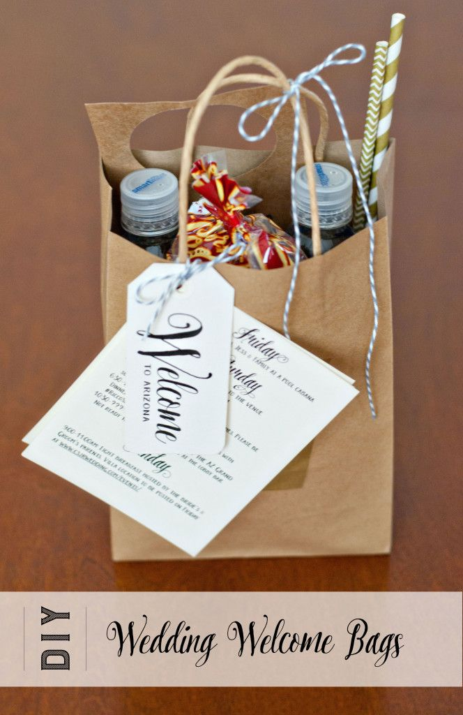 Welcome gift bags for beach wedding