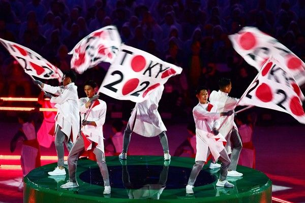 Dancers perform during the presentation of Tokyo 2020 at the closing ceremony of…
