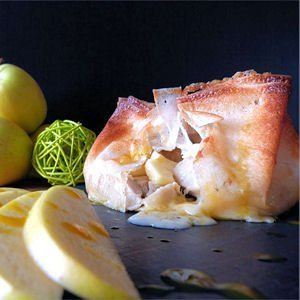 aumônière boudin blanc, pommes et camembert