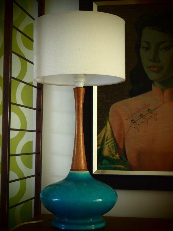 Retro Funky Vintage Teak Turquoise Table Lamp Light