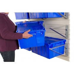 Grab and Go with totes on storeWALL Brackets. Get rid of stacks and grab what you need.