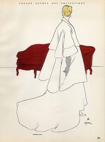 Christian Dior 1948 Evening Gown by René Gruau