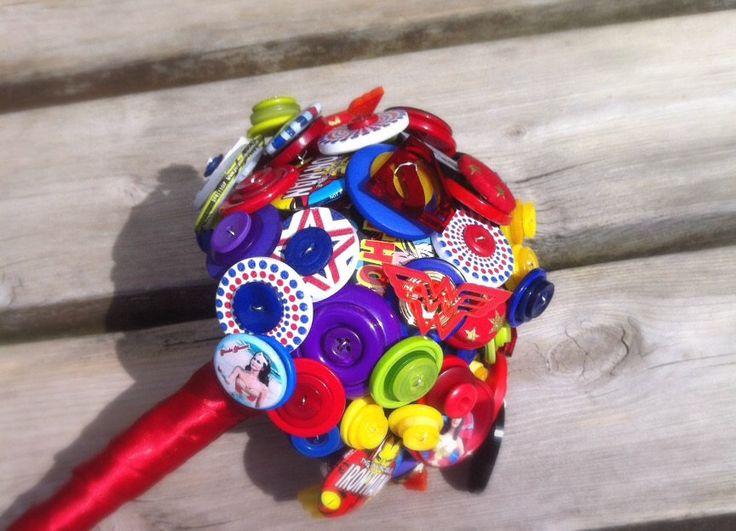 Comic Book Superhero Button Bouquet by RubyDoodles Jewellery #superhero #bouquet #wedding #etsy #affiliate