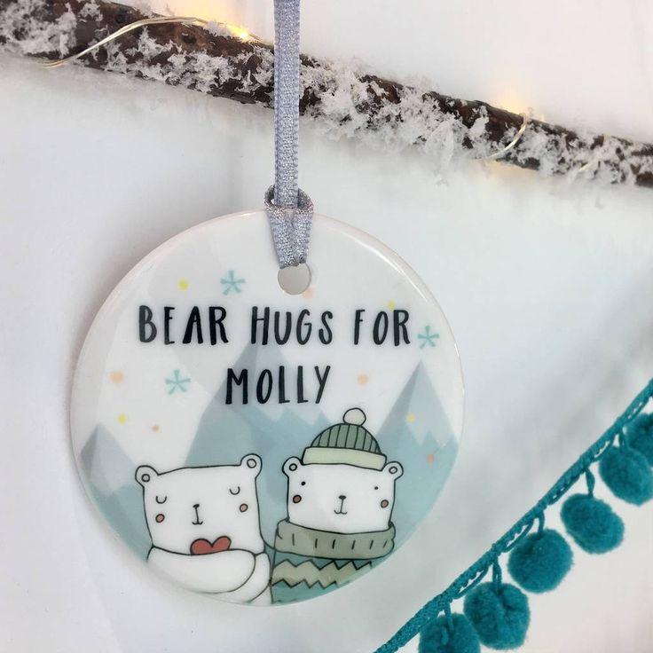 ceramic personalised bear hugs christmas bauble by hendog designs | notonthehighstreet.com