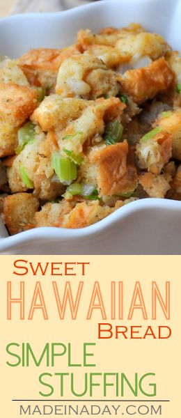 Sweet Hawaiian Bread Simple Stuffing, A simple base stuffing made with King's Hawaiian Classic Stuffing mIx. Great sweet version of the holiday favorite. Perfect for Easter, Thanksgiving or any holiday gathering