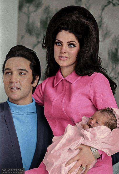 Elvis Priscilla with newborn baby Lisa Marie born Feb1 1968