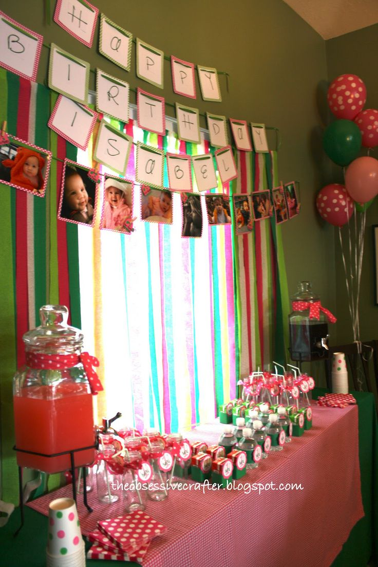 Drink containers...1st Birthday Banner #pink #green #gingham The Obsessive Crafter: Party Planning: Isabel's First Birthday