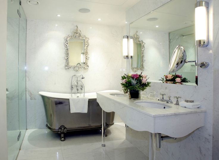 Photo Gallery For Photographers Gorgeous Bathroom Design Ideas With White Wall And Gorgeous Vanities Sink Featuring Chrome Freestanding Bathtub And