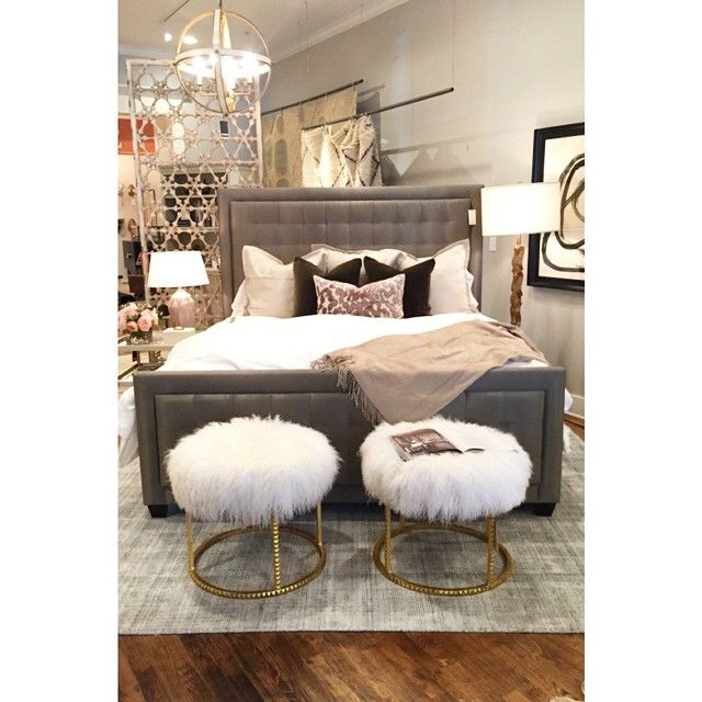 Alice Lane Home Collection | Always obsessed with these furry ottomans.: