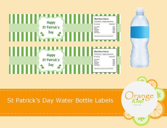 Shamrock Water Bottle Labels St Patrick's Day by OrangeKiwiDesign