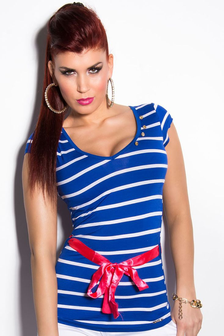 Blue and White Top With Ribbon Waistband by Koucla. Wear this Sexy Deep V Striped Blue and White Top With Ribbon Waistband by Koucla with a pair of Jeans / Shorts for a sexy savvy look. Available in multi colours. http://fashionhub.co.za/blue-and-white-koucla-top-with-ribbon-waistband.html #Summer #summertops #koucla #fashion #designertops #clothingonline #sexytops #fashionhub