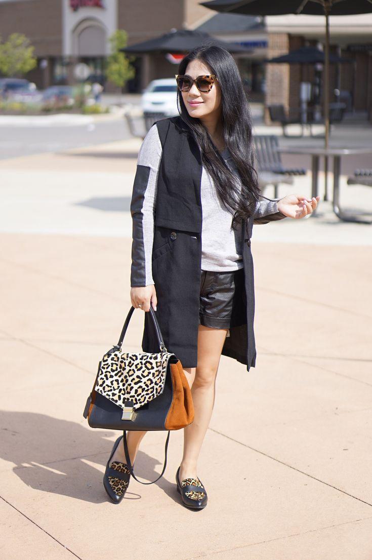 Black long vest+BCBG grey faux leather sweater+black faux leather shorts+Badgley Mischka leopard bag+Nine what leopard shoes+ESQ watch