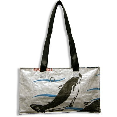 recycled rice bag tote