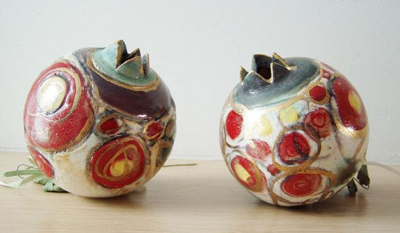 Red, gold, white pomegranate, high fire stoneware, completely unique, luxurious pomegranate, Greek pottery via Etsy $62.50