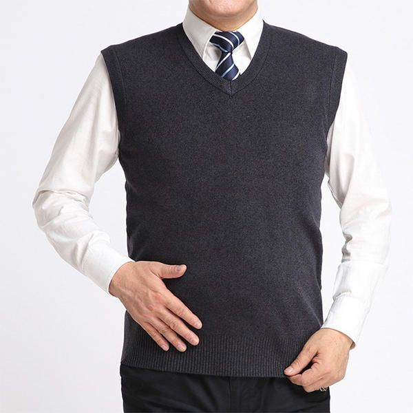 Men's Casual Knitted Pullover Vest Solid Color Warm V-neck Sweater Waistcoat at Banggood