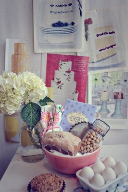 Baking Gift Basket. Use ceramic bowl as basket. Too cute and practical!