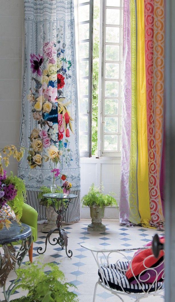 prachtige kleurrijke gordijnen.....durf te combineren en te spelen met kleur
