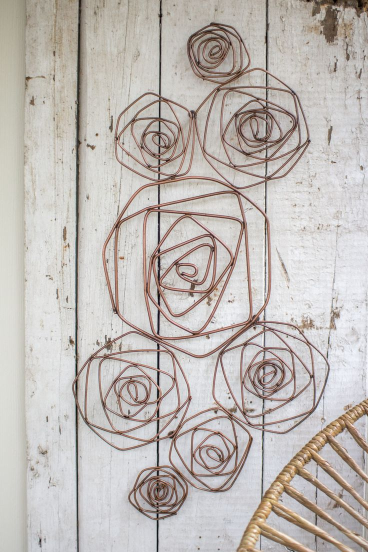 Kalalou Wire Roses Wall Sculpture - Copper Finish