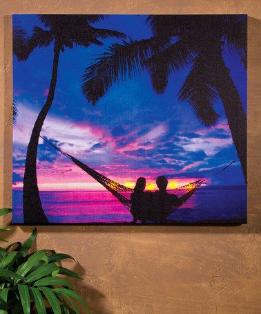 Love this Tropical Landscape Lighted Canvas on #zulily! #zulilyfinds
