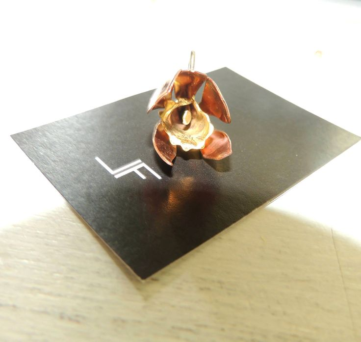 Handmade jewelry - Orchid in copper and bronze. https://www.facebook.com/LeFeu