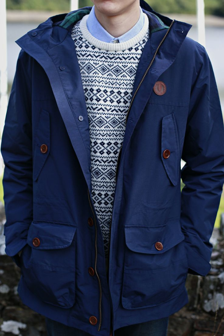 Fred Perry Mountain Parka (Dark Carbon Blue), Farah Vintage Hereford Knit (Navy), Farah Vintage Brewer Plain Oxford Shirt (Sky Blue)