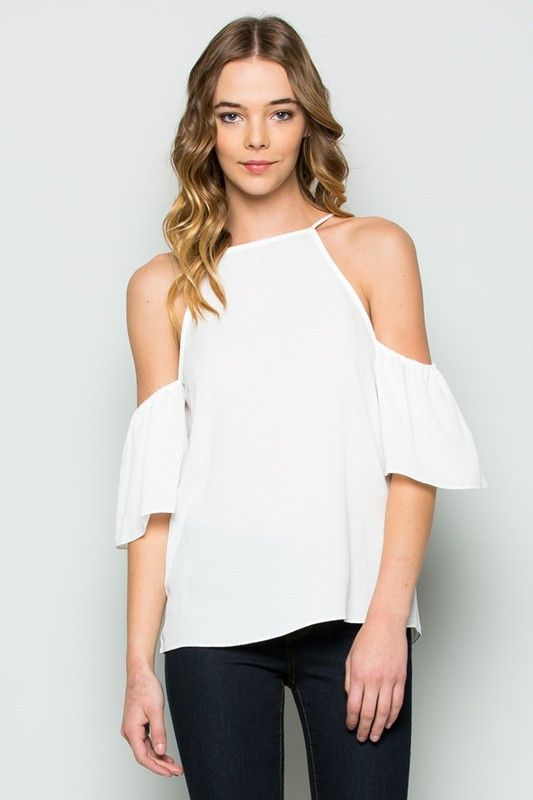 Summer White Cold Shoulder Top