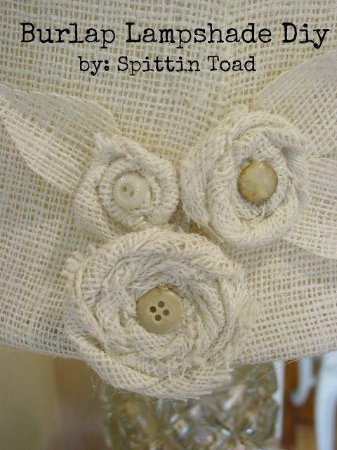 Spittin Toad: Burlap Lamp Shade DIY. Make with yellow buttons for accent