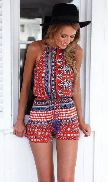 Overview: Bohemian Style Playsuit is casual sexy and perfect to wear on the weekend to the beach or for a day of shopping! Details: 100% polyester Size: Small - Bust 88cm, Waist 70cm, Length 70cm Medi