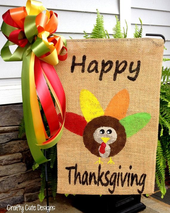 Happy Thanksgiving Burlap Garden Flag w/ by CraftyCuteDesignsNC, $20.00