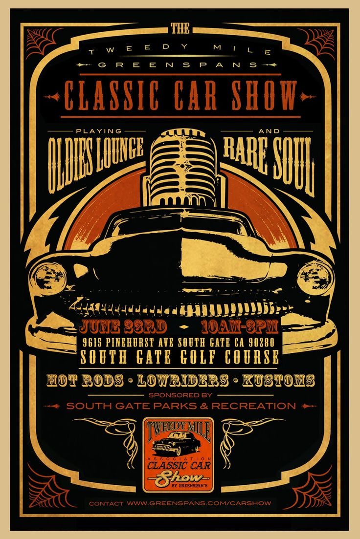 Tweed mile classic car show poster hot rod art pinterest for Classic club music